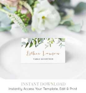 Self-Editing Place Card Template, Printable Wedding Escort pertaining to Printable Escort Cards Template