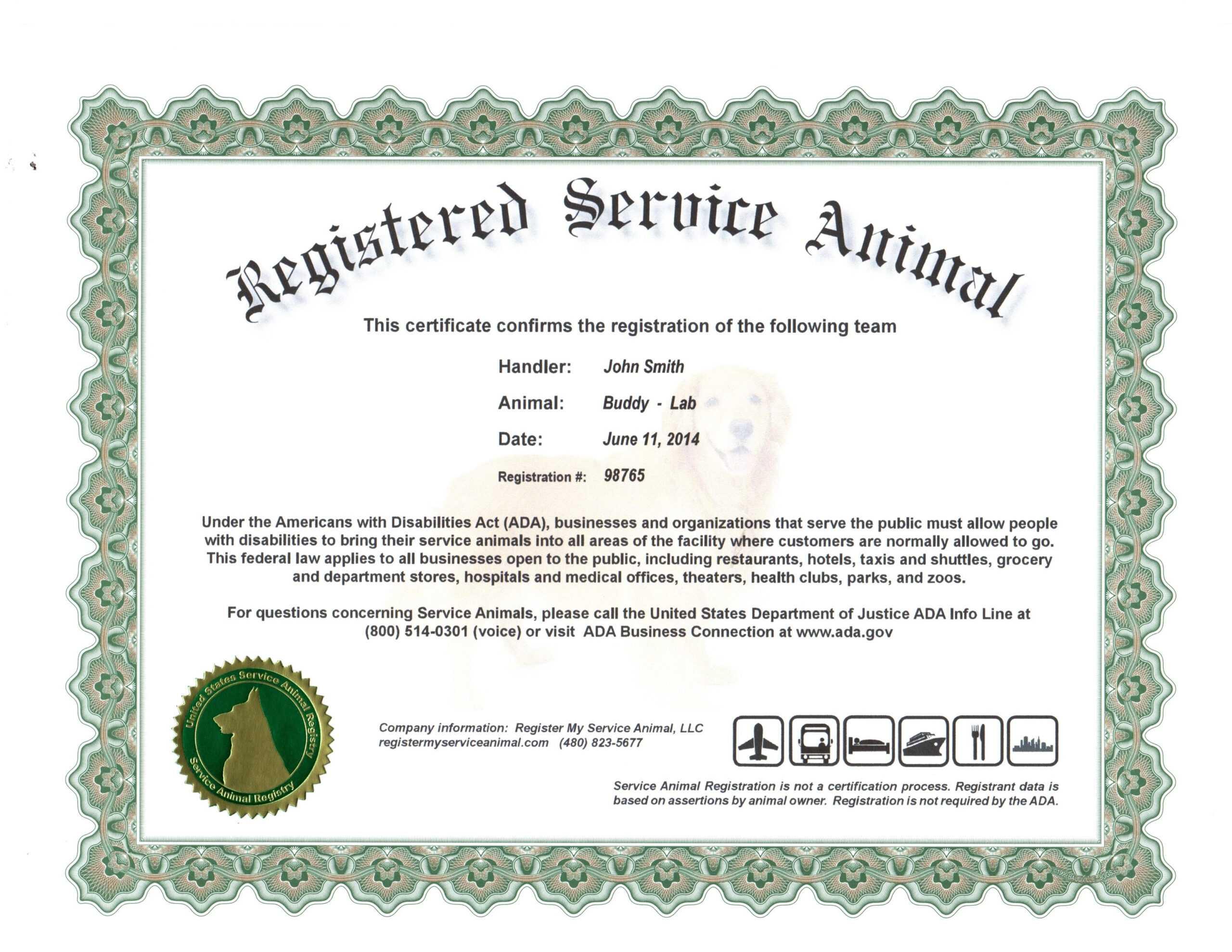 Service Dog Certification Papers - Goldenacresdogs Inside Service Dog Certificate Template