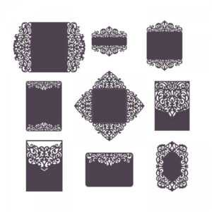 Set Laser Cut Wedding Invitation Templates Card / Envelope in Silhouette Cameo Card Templates