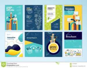 Set Of Brochure Design Templates On The Subject Of Education regarding School Brochure Design Templates