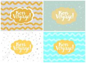 Set Of Four Cards, Vector Templates. Bon Voyage. in Bon Voyage Card Template
