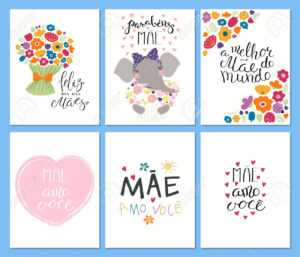 Set Of Mother's Day Cards Templates With Quotes In Portuguese inside Mothers Day Card Templates