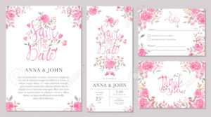 Set Of Wedding Invitation Card Templates With Watercolor Rose.. throughout Sample Wedding Invitation Cards Templates