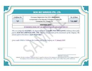 Share Certificate In Singapore ~ Achibiz inside Share Certificate Template Companies House