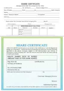 Share Certificate – Indiafilings with Corporate Share Certificate Template