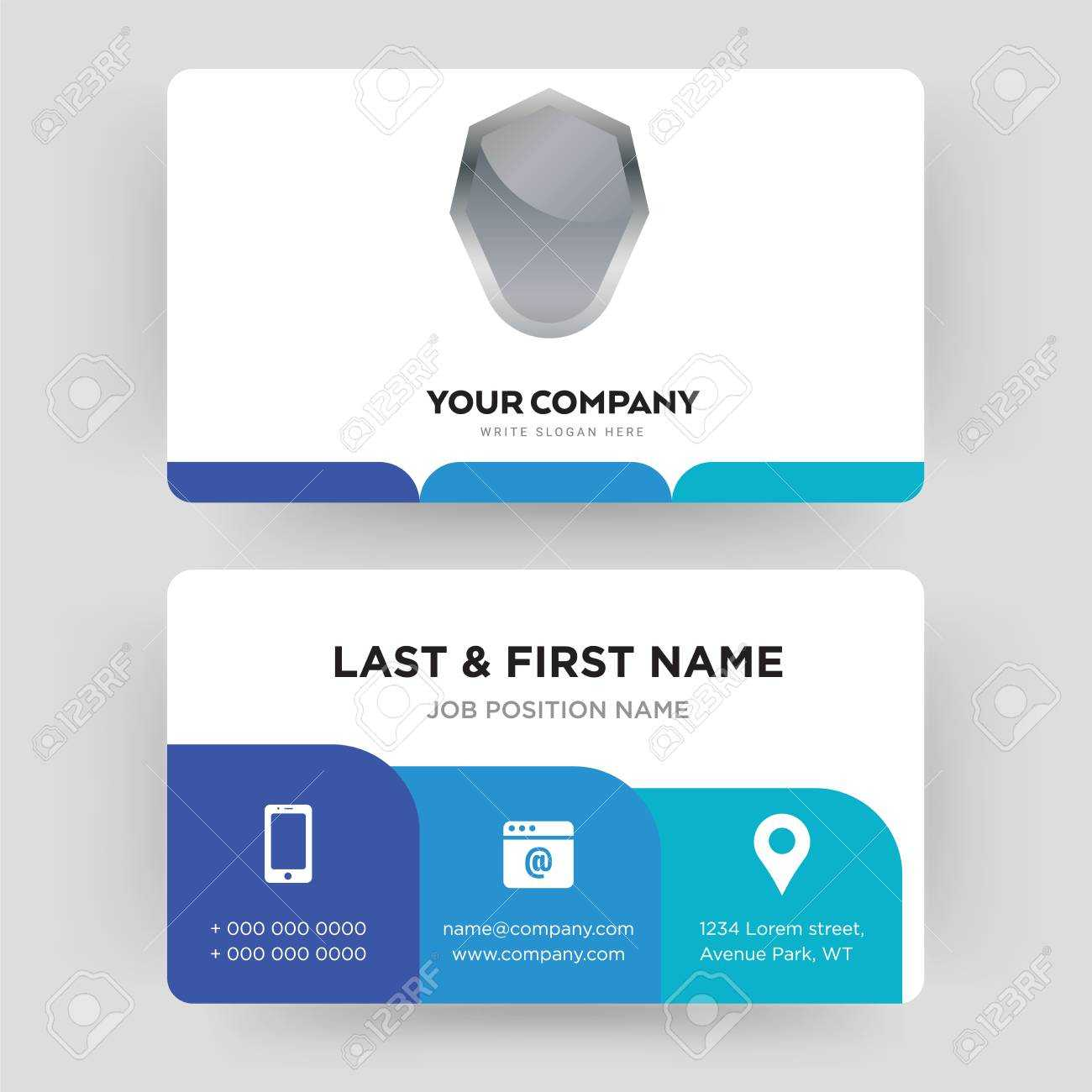 Shield, Business Card Design Template, Visiting For Your Company, Modern  Creative And Clean Identity Card Vector In Shield Id Card Template