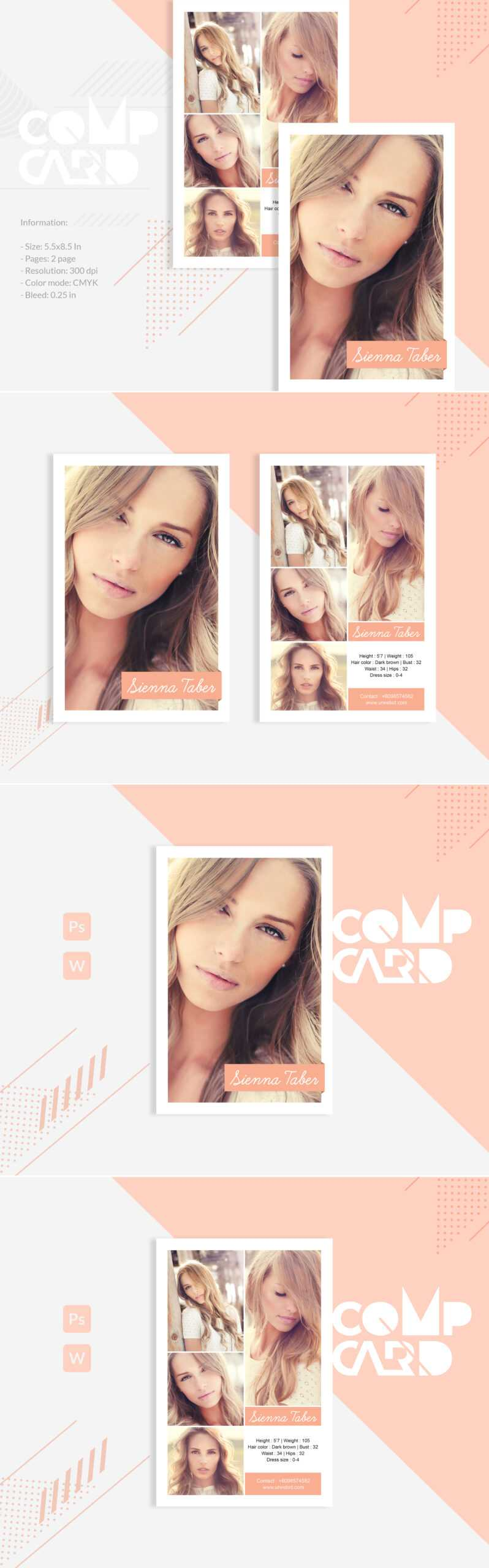 Sienna Taber - Modeling Comp Card Corporate Identity Template In Download Comp Card Template