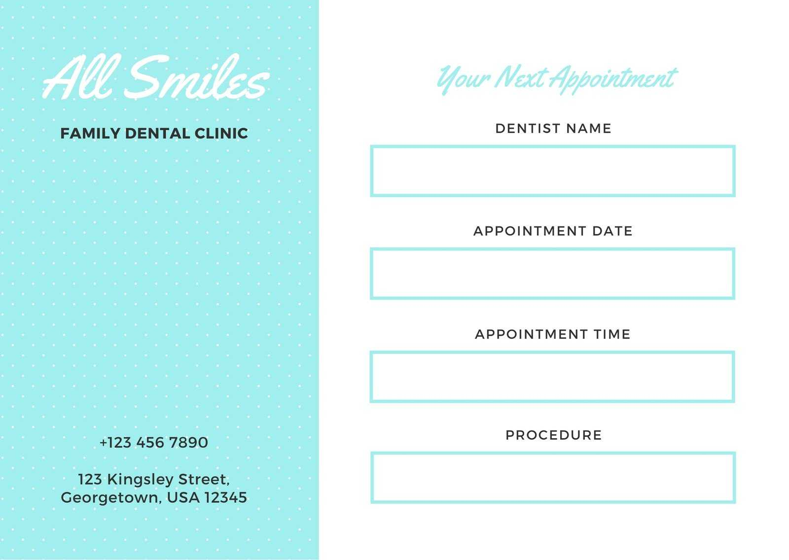 Simple Aqua And White Dentist Appointment Card - Templates Inside Dentist Appointment Card Template