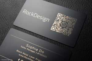 Simple Black Metal Business Cards – Sophia Do throughout Qr Code Business Card Template