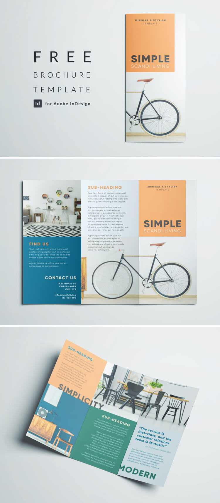 Simple Tri Fold Brochure | Free Indesign Template Regarding Tri Fold Brochure Template Indesign Free Download