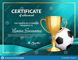 Soccer Certificate Diploma With Golden Cup Vector. Football inside Soccer Certificate Template