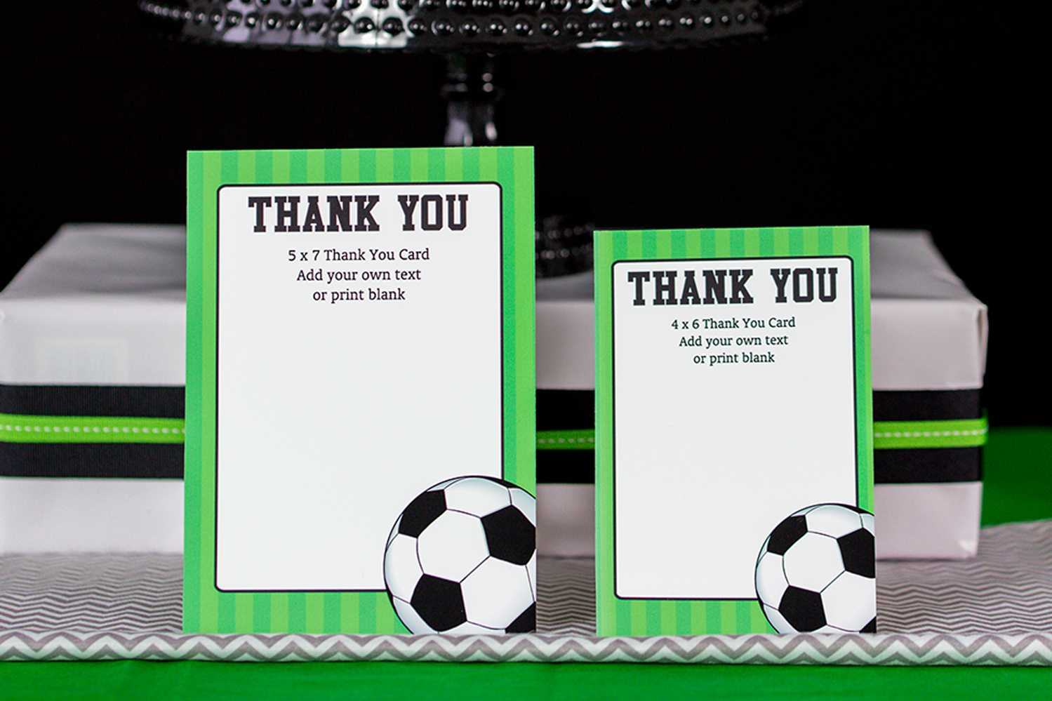 Soccer Party Decorations And Invitation Set Regarding Soccer Thank You Card Template