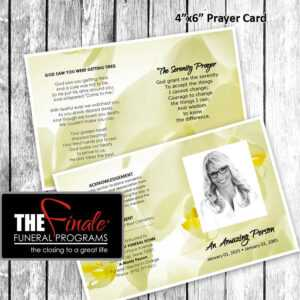 Soft Yellow Glowing Orchids Prayer Card  (Matching in Prayer Card Template For Word
