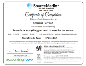 Sourcemedia – Accounting Today – Irs Cpe Certificate inside Continuing Education Certificate Template
