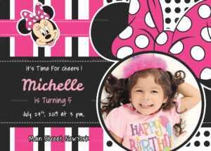 Sparkling Minnie Mouse Birthday Invitation Card Template with regard to Minnie Mouse Card Templates
