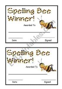 Spelling Bee Award – Esl Worksheetsara5 pertaining to Spelling Bee Award Certificate Template