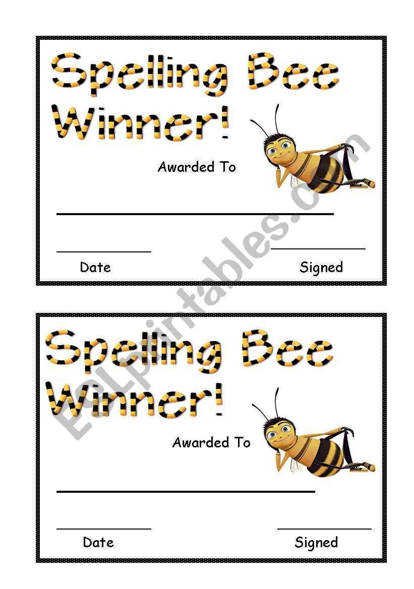 Spelling Bee Award - Esl Worksheetsara5 Pertaining To Spelling Bee Award Certificate Template
