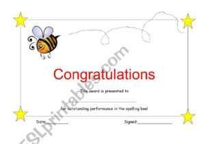 Spelling Bee Certificate – Esl Worksheet intended for Spelling Bee Award Certificate Template