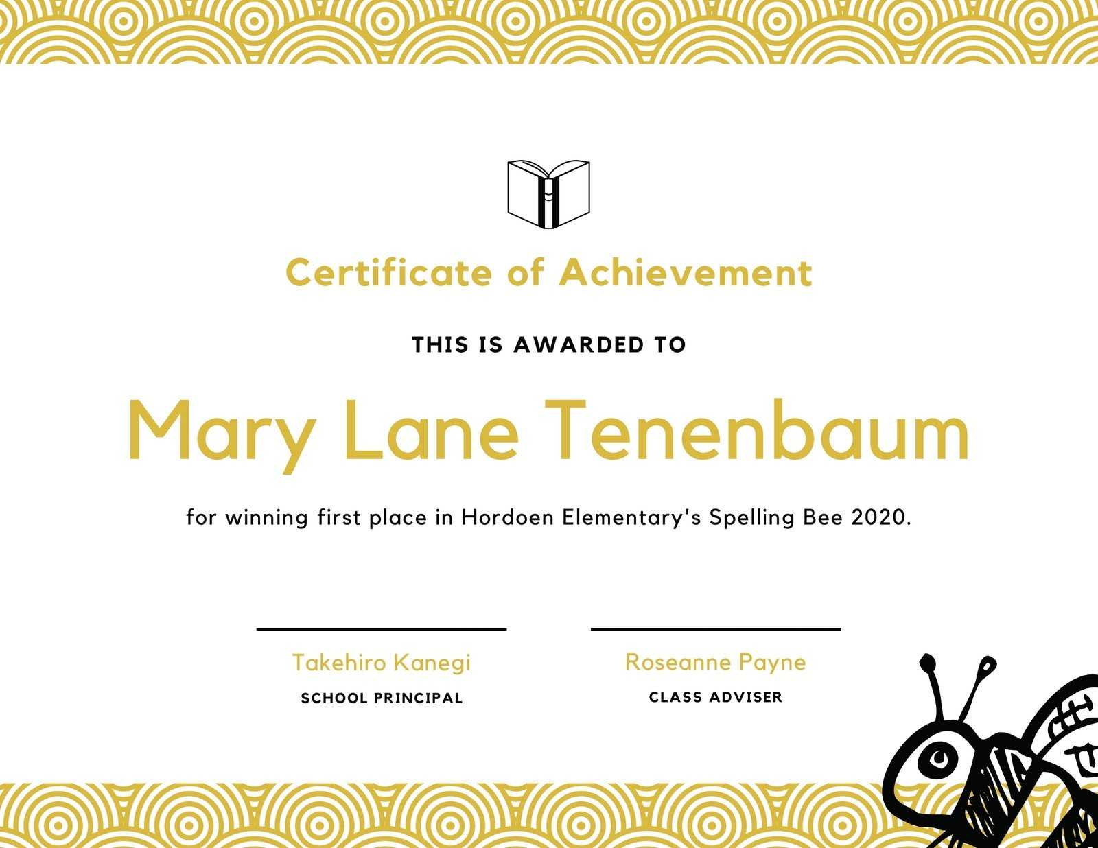 Spelling Bee Fun Certificate - Templatescanva With Spelling Bee Award Certificate Template