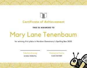 Spelling Bee Fun Certificate – Templatescanva within Fun Certificate Templates