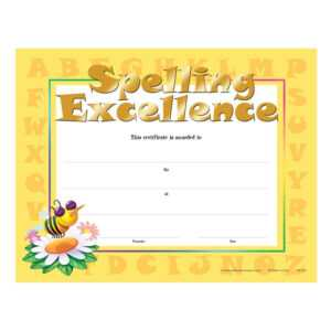 Spelling Excellence Gold Foil-Stamped Certificates – Pack Of 25 in Spelling Bee Award Certificate Template