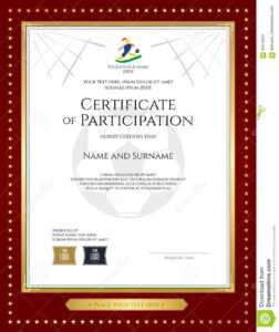 Sport Theme Certificate Of Participation Template Stock in Free Templates For Certificates Of Participation
