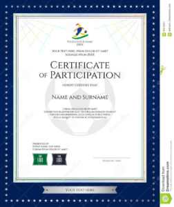 Sport Theme Certificate Of Participation Template Stock with Football Certificate Template
