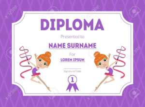 Sports Award Diploma Template, Kids Certificate With Gymnast.. within Gymnastics Certificate Template