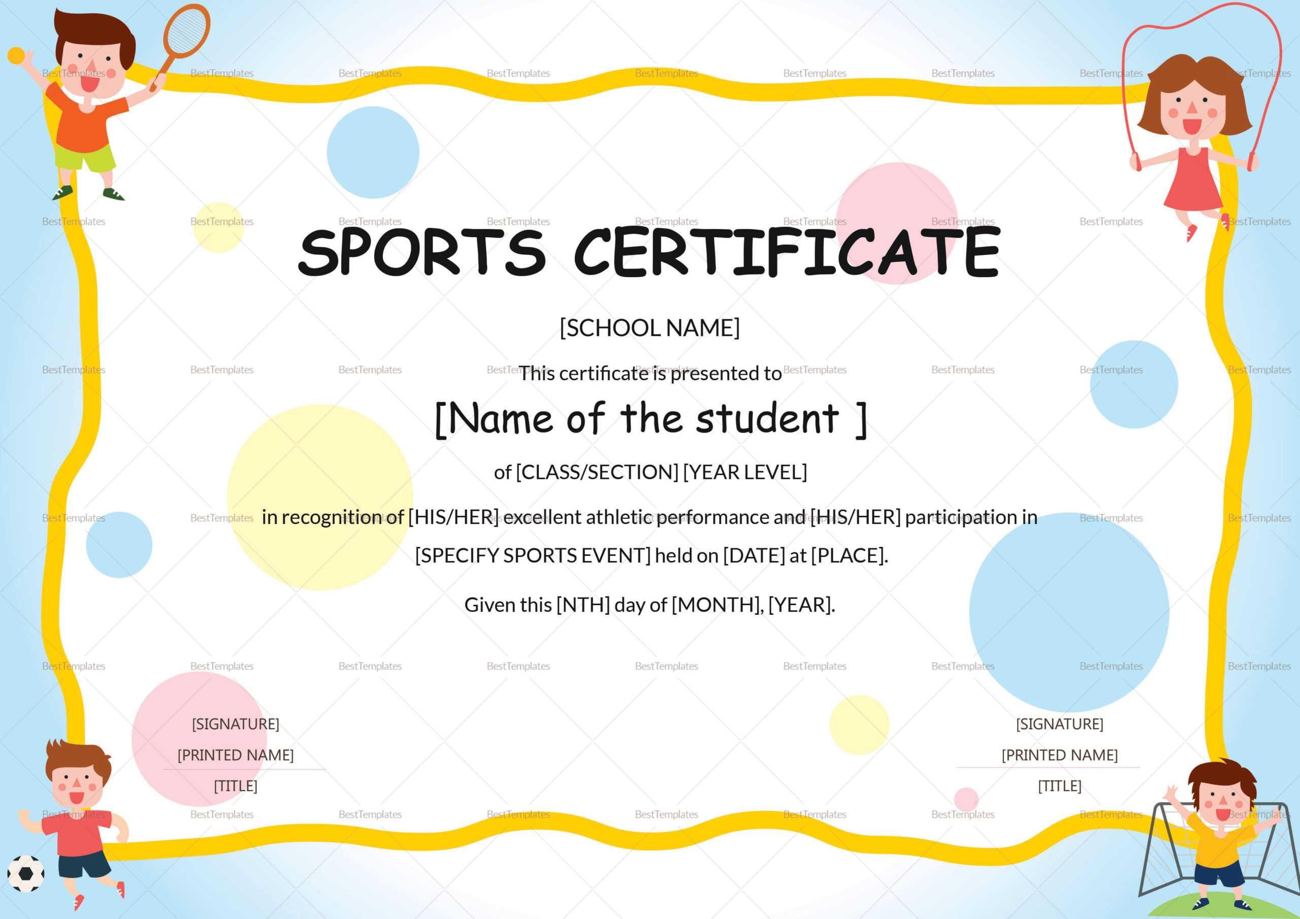 Sports Day Certificate Template - Oflu.bntl In Player Of The Day Certificate Template