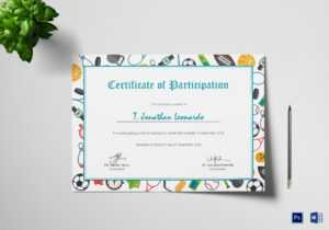Sports Participation Certificate Template with Certificate Of Participation Word Template