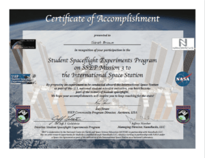 Ssep Mission 3 To Iss Student Certificates Of Accomplishment intended for Conference Participation Certificate Template