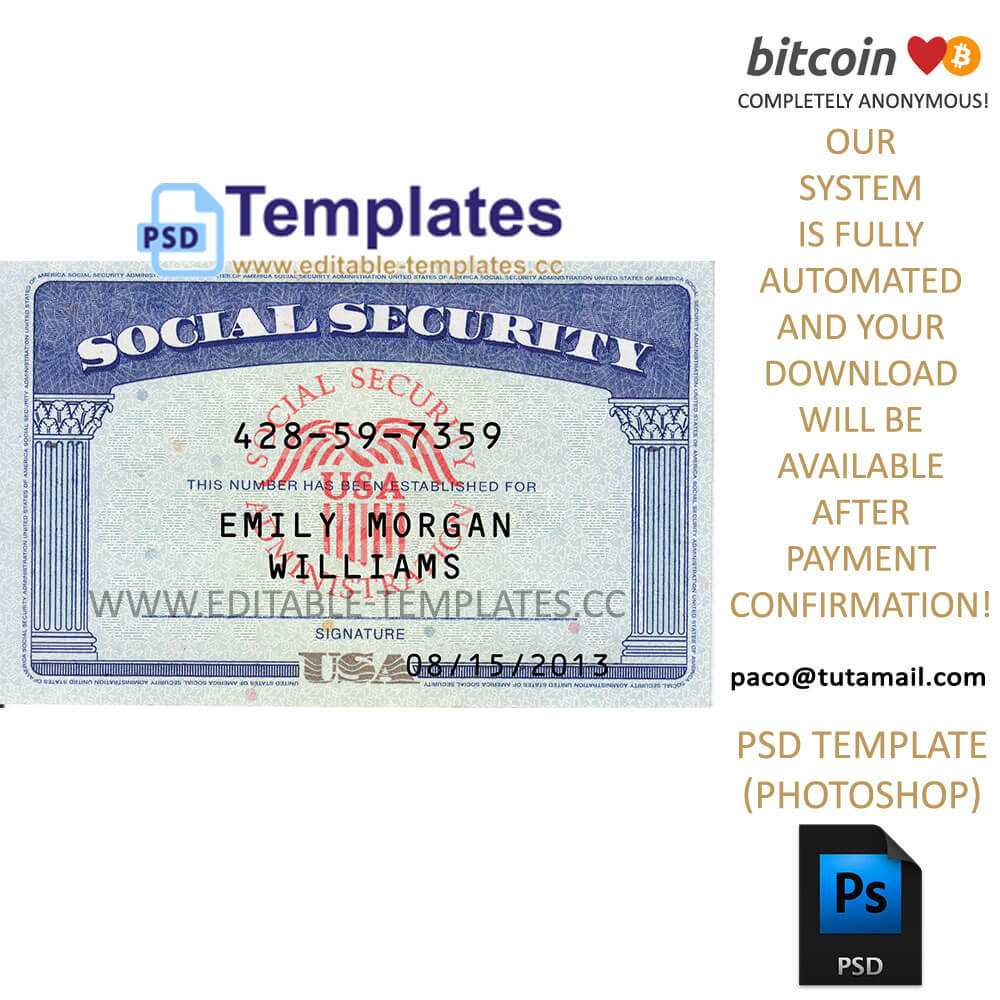 Ssn Usa Social Security Number Template Pertaining To Social Security Card Template Psd