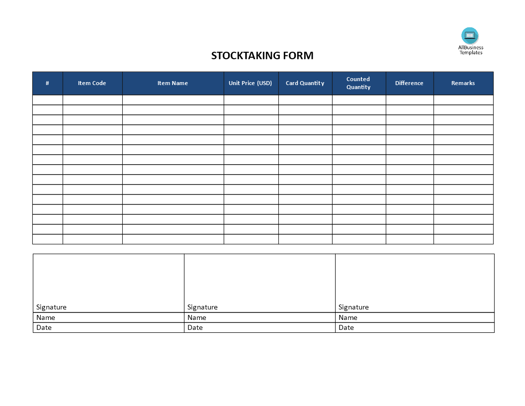 Stocktaking Template | Templates At Allbusinesstemplates With Regard To Bin Card Template