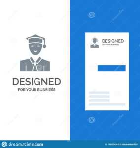 Student, Education, Graduate, Learning Grey Logo Design And in Graduate Student Business Cards Template
