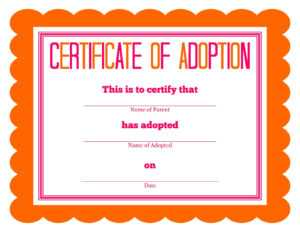 Stuffed Animal Adoption Certificate with regard to Pet Adoption Certificate Template