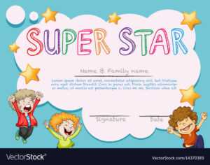 Super Star Award Template With Kids In Background intended for Star Of The Week Certificate Template