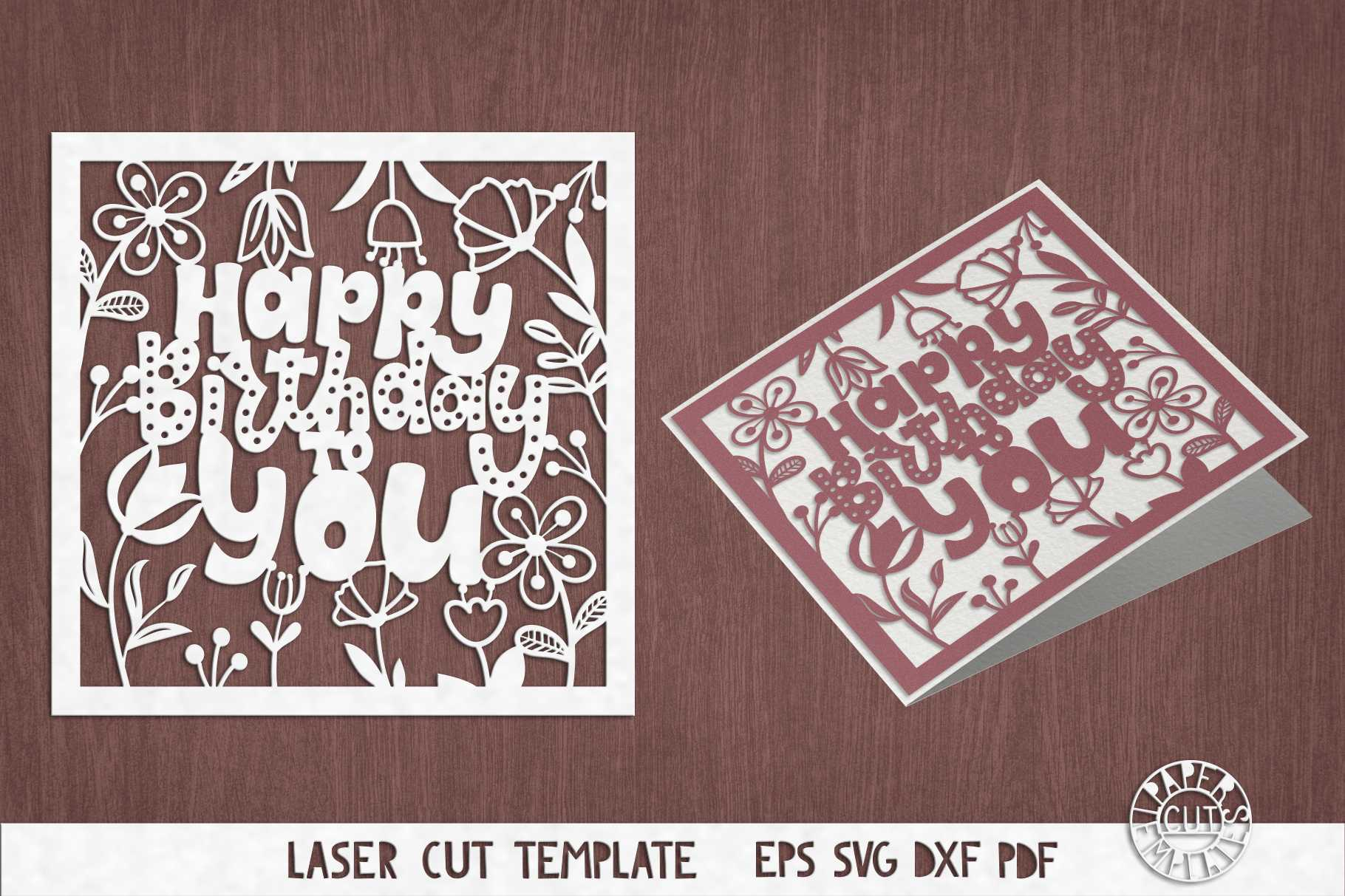 Svg Birthday Card Cut File For Cricut, Silhouette Cameo. Regarding Silhouette Cameo Card Templates