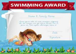 Swimming Award Certificate Template Illustration for Swimming Award Certificate Template