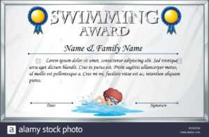 Swimming Certificate Stock Photos & Swimming Certificate inside Free Swimming Certificate Templates