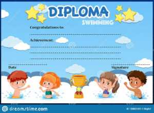 Swimming Diploma Stock Illustrations – 47 Swimming Diploma with Free Swimming Certificate Templates