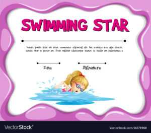 Swimming Star Certificate Template With Girl with Star Of The Week Certificate Template