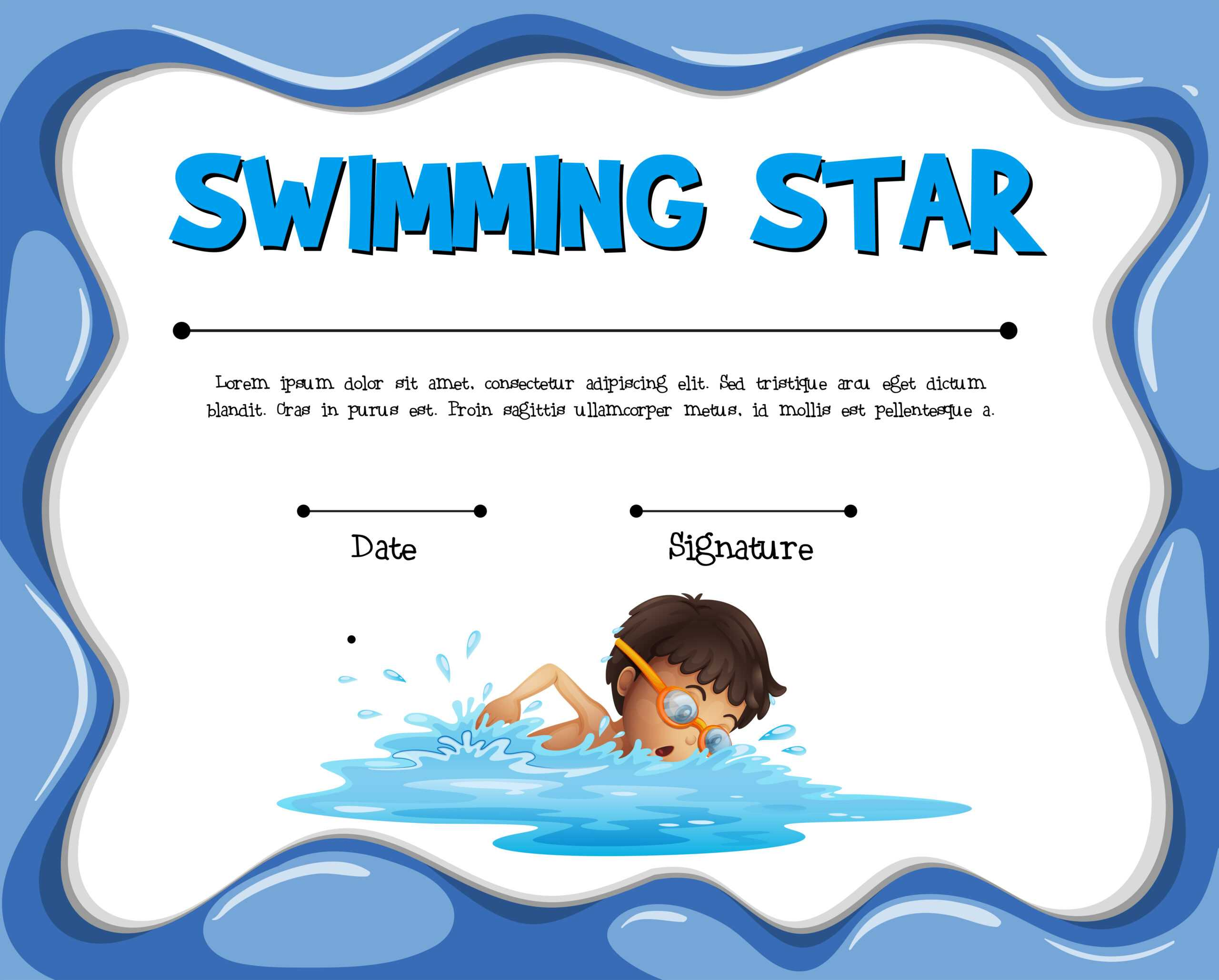 Swimming Star Certification Template With Swimmer - Download Inside Free Swimming Certificate Templates