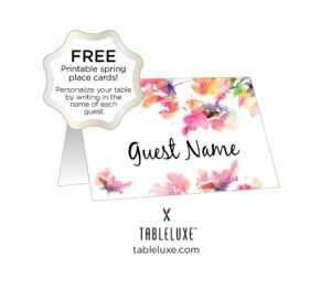 Tableluxe Printable Spring Place Cards with Free Place Card Templates Download