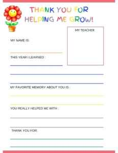 Teacher Thank You Cards Template – Bestawnings with Free Printable Thank You Card Template