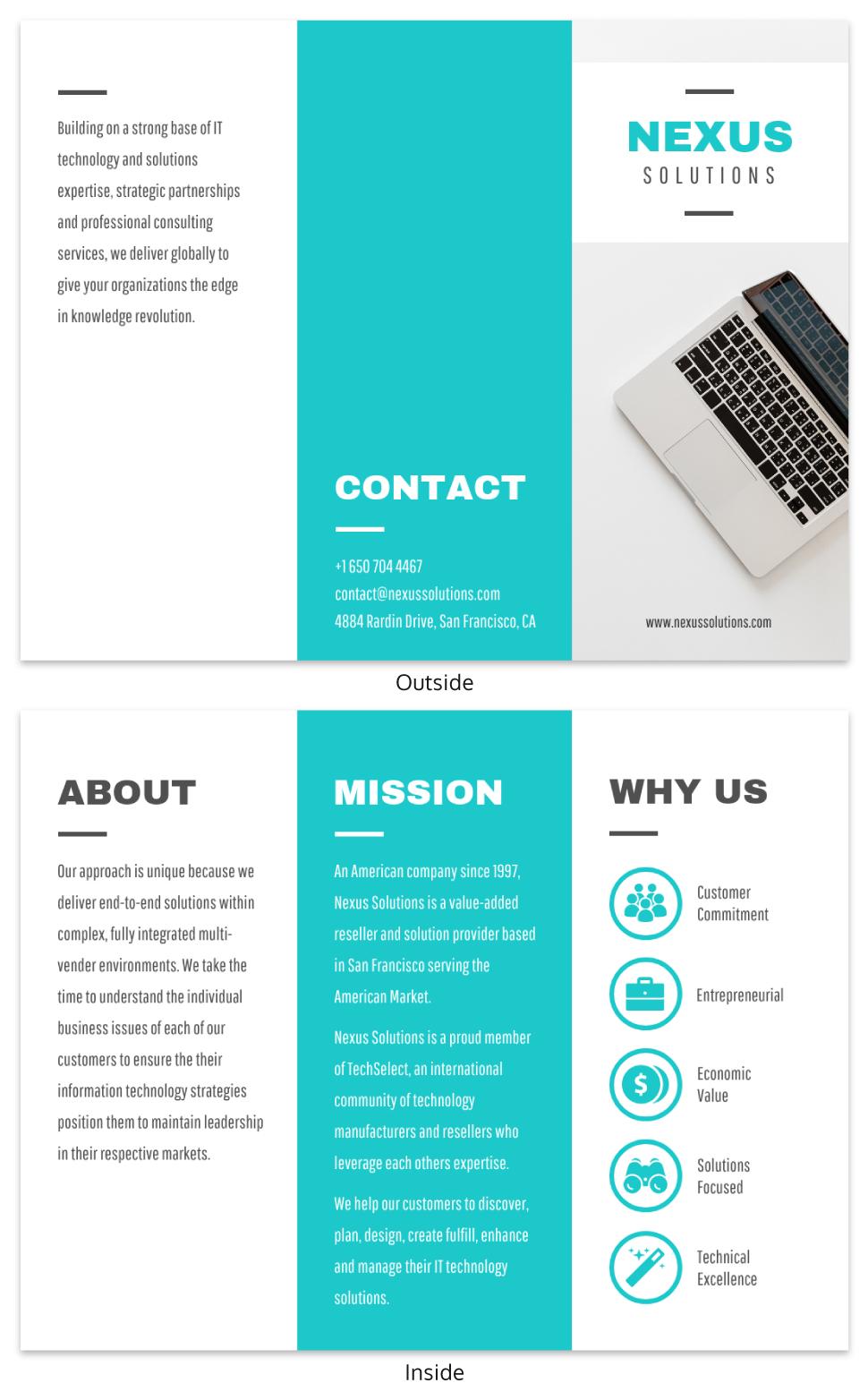 Technology Tri Fold Brochure Template For Technical Brochure Template