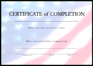 Télécharger Gratuit Certificate Of Completion Usa Project pertaining to Certificate Template For Project Completion