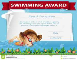 Template Certificate Swimming Award Stock Illustrations – 18 with regard to Free Swimming Certificate Templates