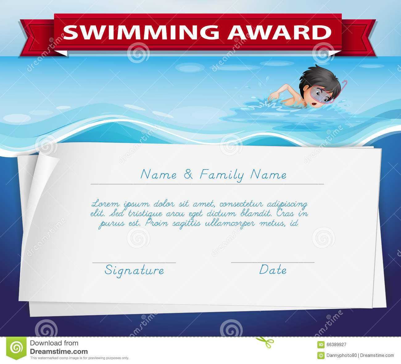 Template Certificate Swimming Award Stock Illustrations – 18 Within Free Swimming Certificate Templates