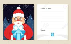 Template Greeting Card New Year's Or Merry Christmas Letter To.. with Christmas Note Card Templates