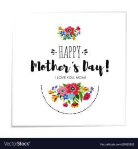 Template Happy Mothers Day Card With Flowers throughout Mothers Day Card Templates